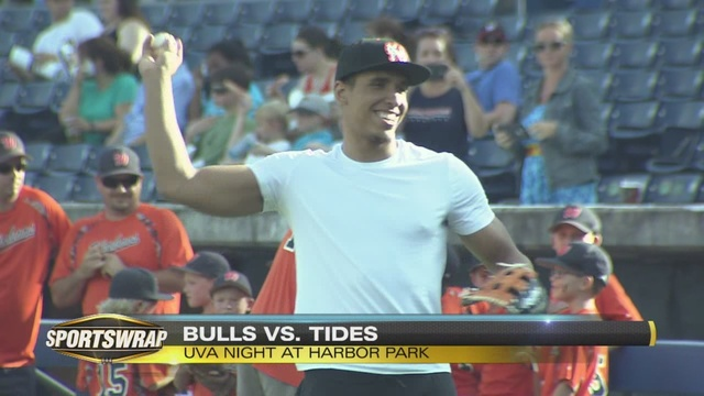 Malcolm Brogdon throws out first pitch, Tides lose to Bulls 5-4 in extras