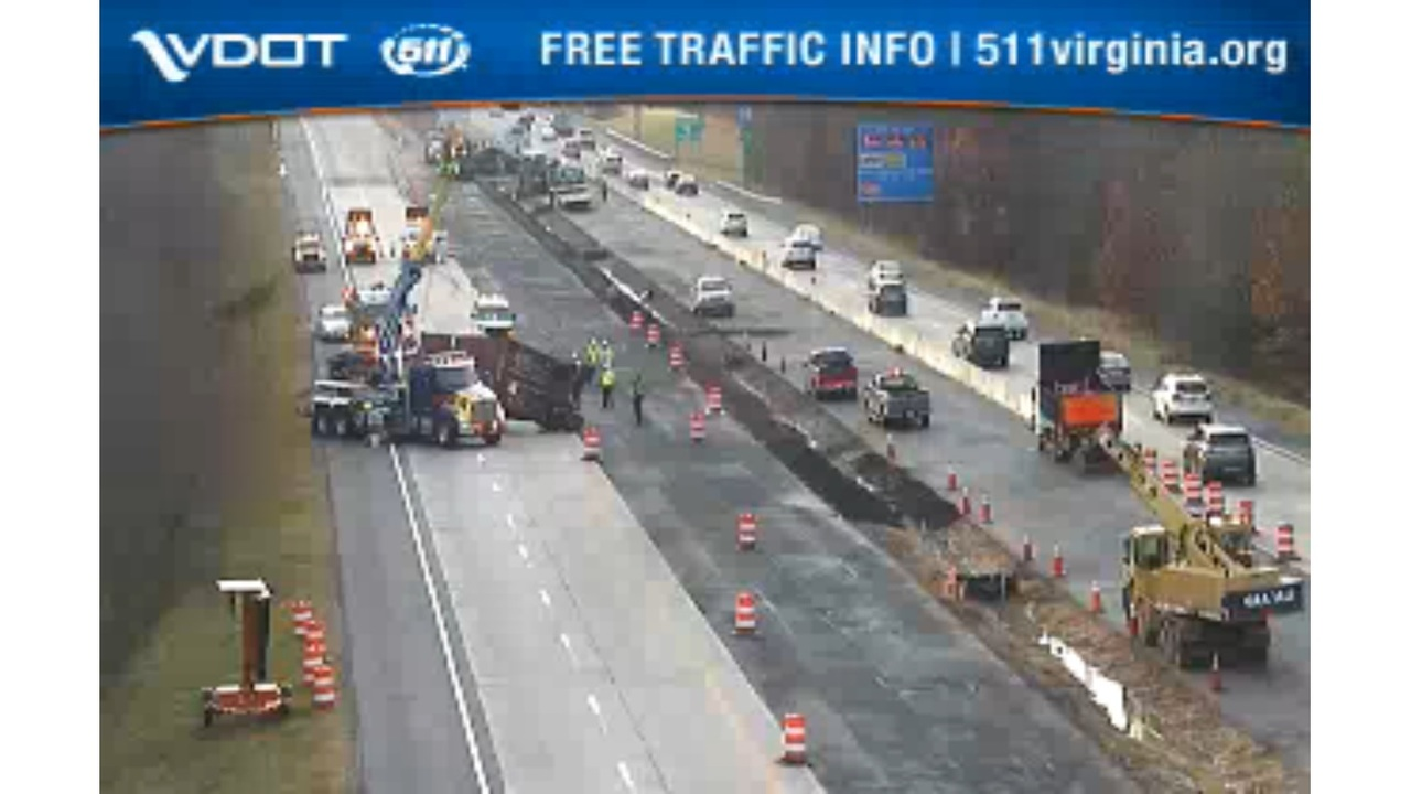tractor-trailer overturns in 2-car crash on i-64 in newport news