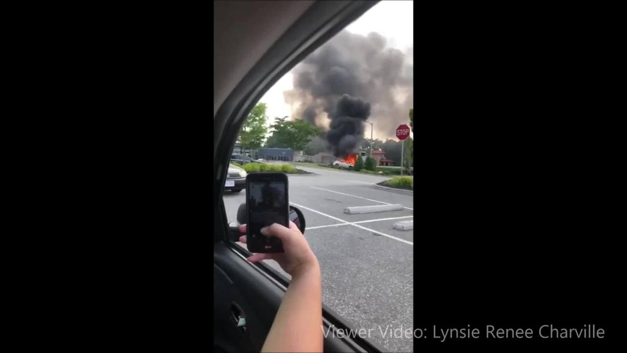 newport news vehicle accident/fire