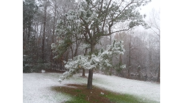 Snow falls in Rushmere, Virginia, on Wednesday, Dec. 5, 2018. (Courtesy ‎Mary)_1544038257602.jpg.jpg
