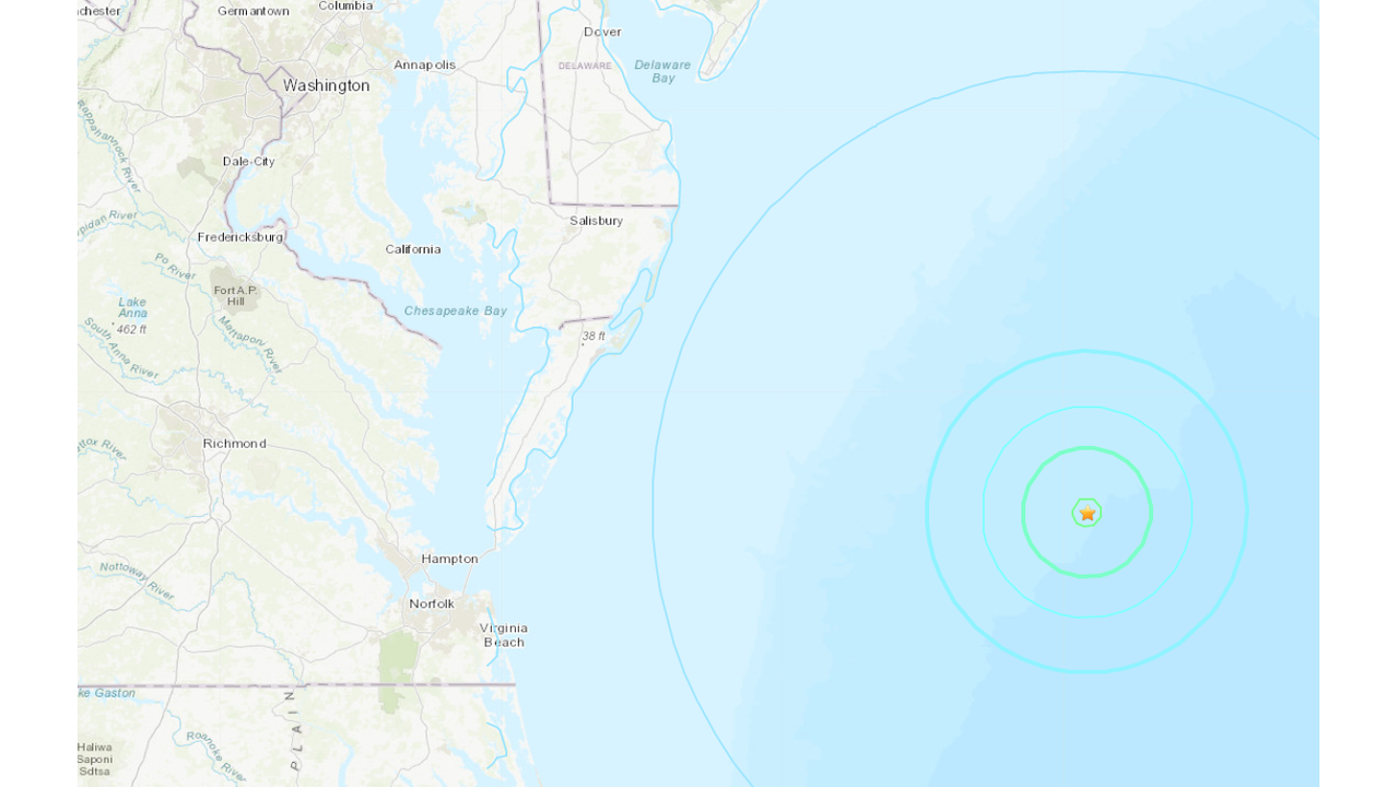 4.7 magnitude earthquake recorded off coast of Virginia