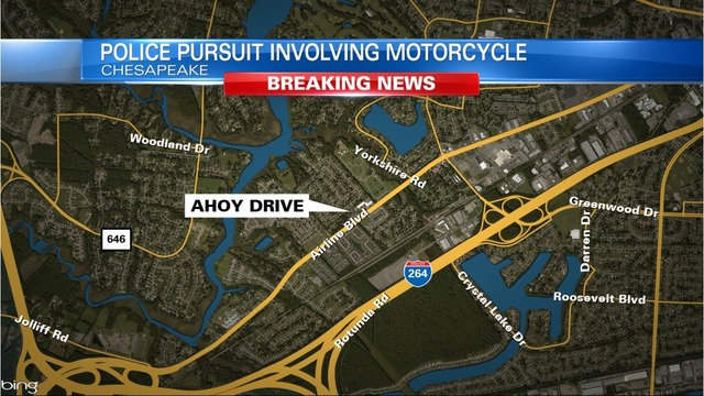 Police pursuit involving motorcycle goes through Chesapeake, ends in