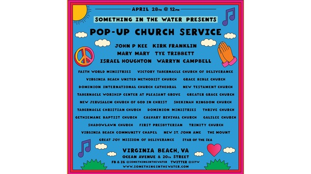 Something in the Water's free 'Pop-Up Church' to feature big gospel acts, local churches